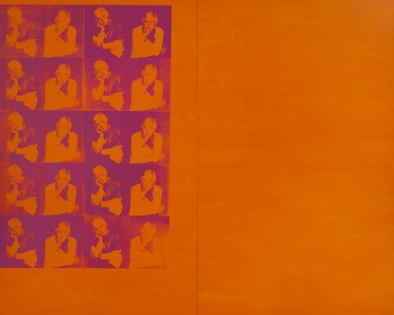 Deborah Kass, <em>Orange Disaster (Linda Nochlin)</em> (1997). Silkscreen, ink, and acrylic on canvas.120 &times; 150 inches (120 &times; 75 inches each canvas). Photo: Josh Nefsky. Courtesy the artist and Paul Kasmin Gallery.
