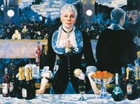 Kathleen Gilje, <em>Linda Nochlin in Manet's Bar at the Folies-Bergère</em>, 2005. Oil on linen, 37 5/8 x 51 inches. Image Courtesy Francis M. Naumann Fine Art, New York.