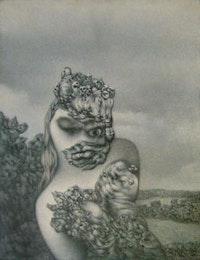 """Richard Oelze, """"In einem spateren Jahr (Wenn auch von anderer Schönheit II) [In One of the Following Years (When Also of Another Beauty II)]"""" (1967). Oil on canvas, 39 3/8"""" x 31 1/2""""."""