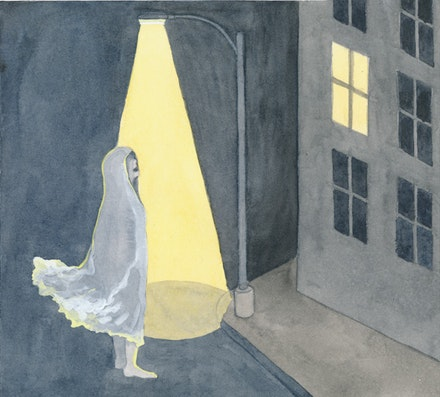 """Outside on the street the ghost keeps calling my name."" Illustration by Megan Piontkowski."