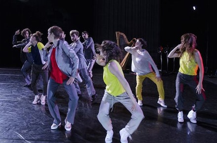 <em>Paradoxe Mèlodie</em> at Thèátre National de Chaillot. Dancers: Nicolas Patry, Brice Noeser, Karina Champoux, Jason Martin, ÈÃ'Â�lise Vanderborght, Clementine Schindler, Molly Johnson. Photo: Luc Senècal.