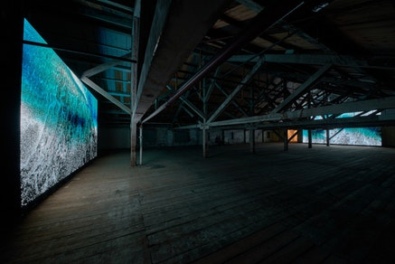 Installation view: Clifford Ross, <em>Wave Cathedral</em>, MASS MoCA, March 23, 2015 &#150; March 30, 2016. Courtesy the artist. &copy; Clifford Ross Studio. Photo: Tom Powell.