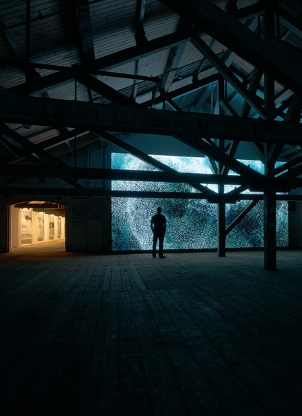 Installation view: Clifford Ross, <em>Wave Cathedral</em>, MASS MoCA, March 23, 2015 &#150;March 30, 2016. Courtesy the artist. &copy;Clifford Ross Studio. Photo: Tom Powell.
