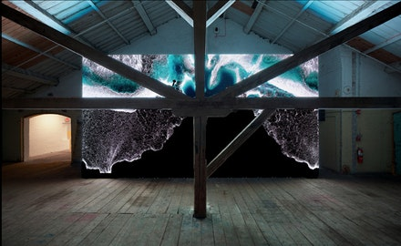 Installation view: Clifford Ross, <em>Wave Cathedral</em>, MASS MoCA, March 23, 2015 – March 30, 2016. Courtesy the artist. © Clifford Ross Studio. Photo by Art Evans.
