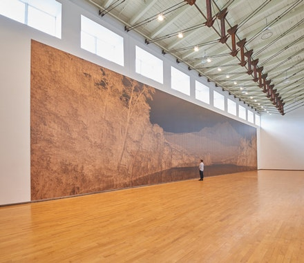 Clifford Ross, <em>Sopris Wall I</em>, MASS MoCA, March 23, 2015 – March 30, 2016. UV cured inkjet print on wood, 24 x 114 ft. Courtesy the artist. © Clifford Ross Studio. Photo: Tom Powell.