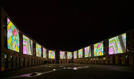 Clifford Ross, <em>Immersive Harmonium Video</em>, 2015, Courtyard D, MASS MoCA. Courtesy the artist. &copy; Clifford Ross Studio. Photo by Tom Powel.