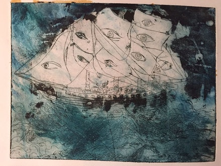 Sam Messer, <em>Ship of Eyes</em>. Hand-colored etching, 9 x 12 in. (Still from <em>Dennis the Pirate</em>, 2015.) Courtesy the artist.