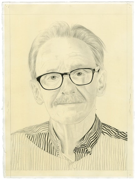 Portrait of Peter Schjeldahl. Pencil on paper by Phong Bui.