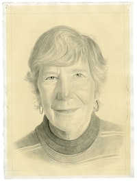 Portrait of Mary Heilmann. Pencil on paper by Phong Bui.