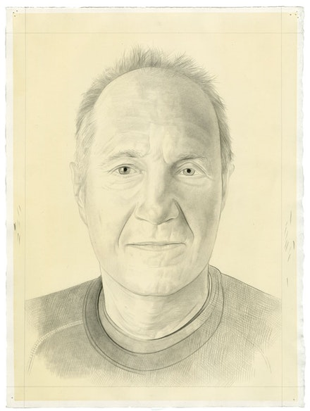 Portrait of David Reed. Pencil on paper by Phong Bui.