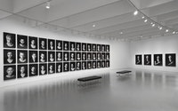 Figure 1. Installation view: <em>Shirin Neshat: Facing History</em>, Hirshhorn Museum and Sculpture Garden, 2015. Works from the Book of Kings series, 2012 © Shirin Neshat. Courtesy the Hirshhorn Museum and Sculpture Garden, Smithsonian Institution.