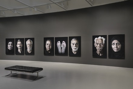 Figure 6. Installation view: <em>Shirin Neshat: Facing History</em>, Hirshhorn Museum and Sculpture Garden, 2015. Works from the Our House Is on Fire series, 2013. © Shirin Neshat. Courtesy the Hirshhorn Museum and Sculpture Garden, Smithsonian Institution.