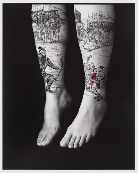 Figure 4. Shirin Neshat. <em>Divine Rebellion [The Book of Kings]</em>, 2012. Acrylic on LE silver gelatin print, 62 x 49 in. Courtesy Gladstone Gallery.