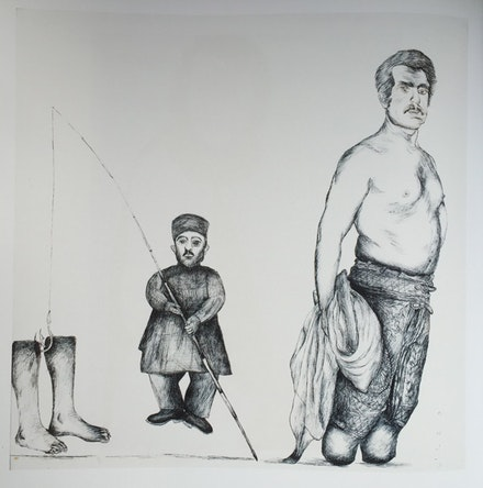Figure 5. Ardeshir Mohassess, <em>Untitled</em>, 1972. Ink on paper, 19 x 19 in. (framed).Collection of Massoud Nader.