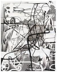 Albert Oehlen, <em>Festnahme</em> [<em>Arrest</em>], 1996. Oil and acrylic on canvas, 75 1/4 × 96 1/2 in.</em></em>