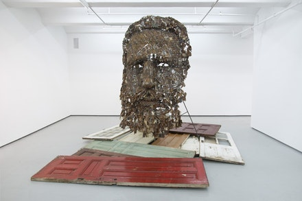 Yoan Capote, <em>Immanence</em>, 2015. Mixed media including hinges, wood doors, metal armature, 120 × 180 × 180 ̋. © Yoan Capote. Courtesy the artist and Jack Shainman.