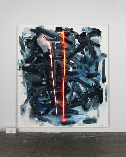 Mary Weatherford, <em>Engine</em>, 2014. Flashe and neon on linen, 117 × 104 in. Courtesy Brennan & Griffin. Photo: Fredrik Nilsen Studio.