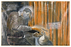 Albert Oehlen, Selbstportrait mit Einlochtopf [Self- portrait with One-hole Vase], 1984. Oil on canvas, 67 × 102 3/8 in.