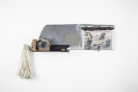 JJ Peet, <em>INTO</em>, 2013. Stonewear, photograph; pine, aluminum, acrylic, rope, and paint, 19 x 32 x 7 in. Courtesy On Stellar Rays. Photo: Lisa Albaugh.