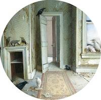 Dina Brodsky, <em>Nevermore</em>, 2014. Oil on plexiglas, 8 in. diameter. Courtesy Island Weiss.