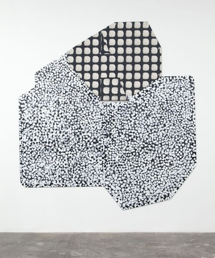 Ruth Root, <em>Untitled</em>, 2014 – 15. Fabric, Plexiglas, enamel paint, and spray paint 93 × 87 1/4 in. Courtesy the Artist (Root) and Andrew Kreps Gallery.