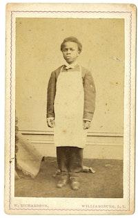 <em>Boy in Apron</em>, circa 1860s. Carte de visite. John B. Woodward Papers. Courtesy Brooklyn Historical Society.