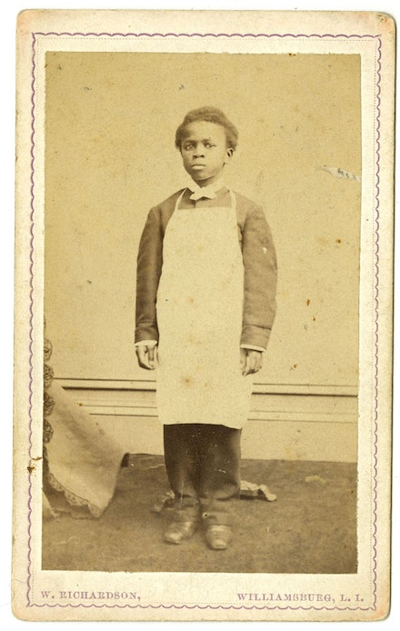 <em>Boy in Apron</em>, circa 1860s. Carte de visite. John B. Woodward Papers. Courtesy Brooklyn Historical Society.