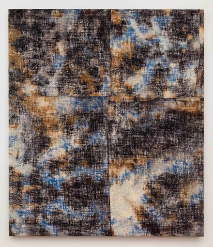 Evan Nesbit, <em>La Brea IX</em>, 2015. Acrylic, dye and burlap. Courtesy Eleven Rivington, New York.