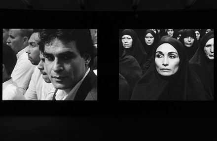 Installation view: <em>Shirin Neshat: Facing History</em>, Hirshhorn Museum and Sculpture Garden, 2015. Artwork © Shirin Neshat. Courtesy Hirshhorn Museum and Sculpture Garden, Smithsonian Institution, Washington, DC.