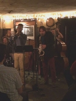Ian Froman, Jason Palmer, Noah Preminger, Kim Cass, at 55 Bar. Photo by George Grella.