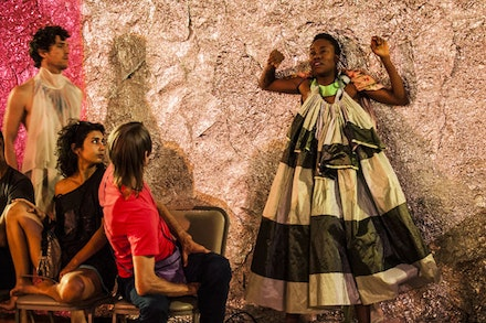 Benjamin Asriel and Omagbitse Omagbemi share the stage with audience members at Walter Dundervill's <em>Arena</em>. Photo: Maria Baranova.