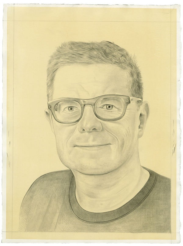 Portrait of the artist. Pencil on paper by Phong Bui. Photo: Zack Garlitos.