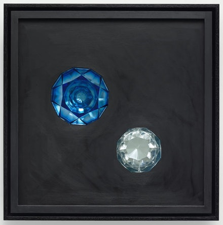 Josiah McElheny, <em>Crystalline Prism Painting I</em>, 2015. Oil paint, museum glass, hand formed, pressed and polished glass, wood, low-iron mirror, hardware, 22 x 22 x 6 1/2 in. Photo: Ron Amstutz.