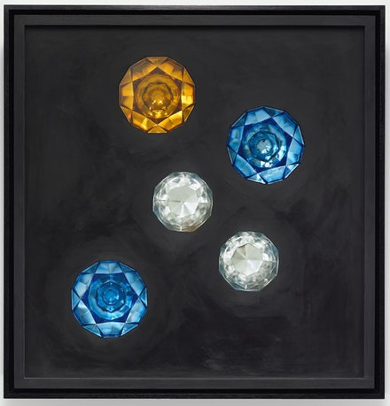 Josiah McElheny, <em>Crystalline Prism Painting II</em>, 2015. Oil paint, museum glass, hand formed, pressed and polished glass, wood, low-iron mirror, hardware, 29 x 24 x 6 1/2 in. Photo: Ron Amstutz.