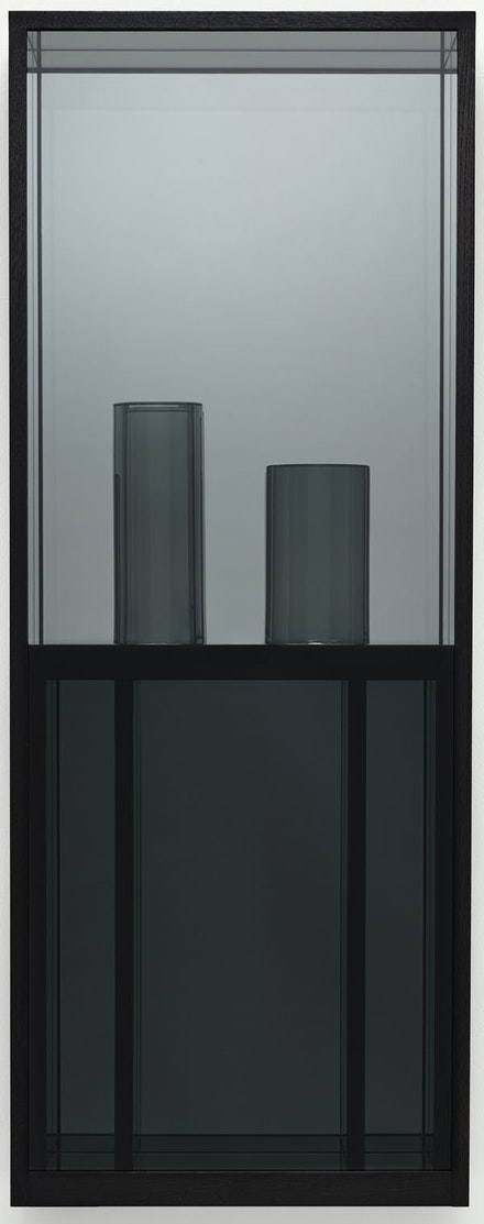Josiah McElheny, <em>Window Painting I</em>, 2015. Hand-formed and polished grey tinted glass, low-iron mirror, cut and polished grey tinted architectural sheet glass, Sumi ink wood finish, oak and plywood, 50 1/2 x 19 1/2 x 7 3/8 in. Photo: Ron Amstutz.