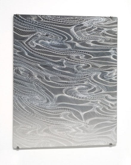 Josiah McElheny, <em>Mirror drawing (III)</em>, 2004. Hand-blown silvered glass mirror, 23 x 19 in. Courtesy Andrea Rosen Gallery, New York.