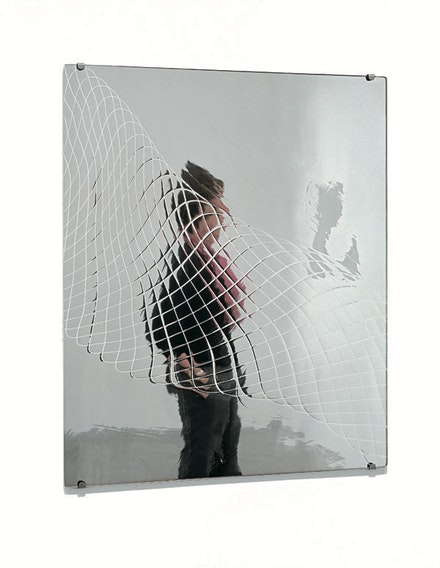 Josiah McElheny, <em>Mirror Drawing (VII)</em>, 2004. Hand-blown and mirrored glass, metal hardware, 23 x 19 in. Photo: Tom Van Eynde.