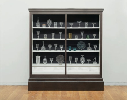 Josiah McElheny, <em>Verzelini's Acts of Faith (Glass from Paintings of the Life of Christ)</em>, 1996. Blown glass, text, display case; Case dimensions: 78 1/2 x 72 1/2 x 14 3/4 in. Courtesy Andrea Rosen Gallery, New York. Photo: Claire Garoutte.