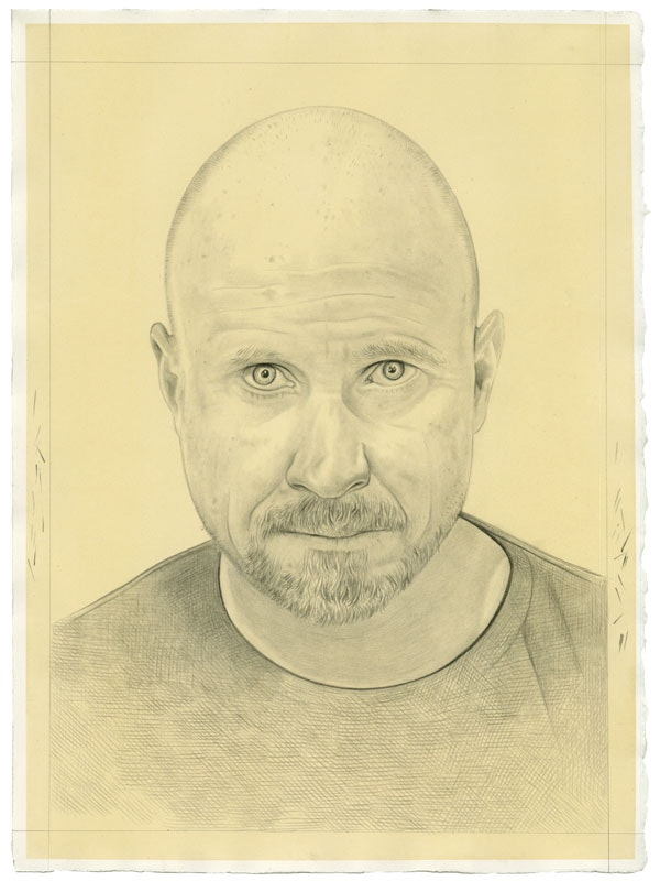 Portrait of Trevor Paglen. Pencil on paper by Phong Bui.