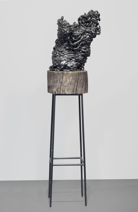 Arlene Shechet, <em>My Balzac</em>, 2010. Glazed ceramic, wood, and steel, 72 × 13 × 21 inches. Courtesy the artist and Sikkema Jenkins & Co., New York.