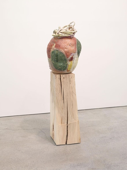 Arlene Shechet, <em>From Seeing Summer</em>, 2012. Solid hard wood, glazed ceramic, 57 × 17 × 16 inches. Courtesy the artist and Sikkema Jenkins & Co., New York.