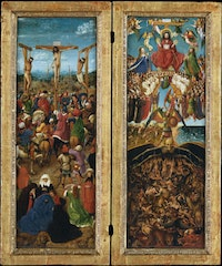 Jan van Eyck, <em>Crucifixion and Last Judgment</em>, ca. 1435 – 40. Oil on canvas, transferred from wood. Each 22 1⁄4 × 7 2/3 in. Courtesy the Metropolitan Museum of Art, Fletcher Fund, 1933.