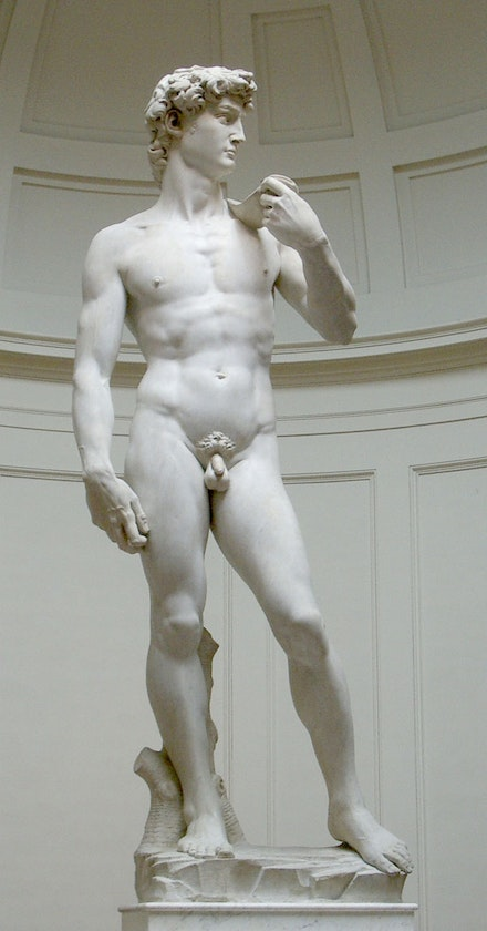 Michelangelo, <em>David</em>, 1501 – 4. Marble. 11 ft. Photo: Pierpao (CC BY-SA 3.0) / Desaturated from the original.