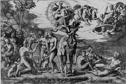 Marcantonio Raimondi (designed by Raphael), <em>The Judgment of Paris</em>, ca. 1510 – 20. Engraving. 11 7/16 × 17 3/16 in. Courtesy the Metropolitan Museum of Art, Rogers Fund, 1919.