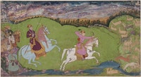 <em>Princely Deer Hunters</em>, India, Deccan ca. 1660 – 70. Ink, opaque watercolor, and gold on paper. 9 1/2 × 17 15/16 in. Collection of Mrs. Stuart Cary Welch, New Hampshire.