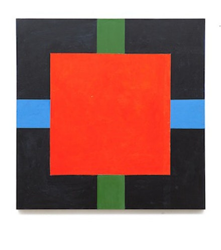 Brian O'Doherty, <em>Red Square</em>, 2014. Liquitex on canvas, 36 × 36 in. Courtesy Galerie Thomas Fischer, Berlin. Photo: Torben Höke.