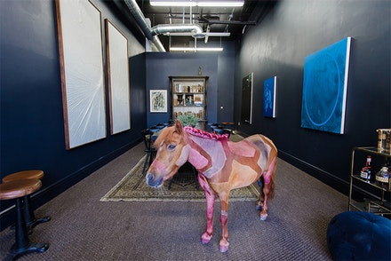 Installation view: Joe Sola, <em>A Painted Horse</em> (with Matthew Chambers, Sayre Gomez, and Rudy K Slobeck, and others), TIF SIGFRIDS, July 11 - August 8, 2015. Photo: Gina Clyne Photography.
