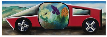 Andreas Schulze, <em>Untitled (Seabull)</em>, 2015. Acrylic on nettle cloth, 63 x 189 inches (3 parts). Copyright Andreas Schulze / VG Bild-Kunst, Bonn. Courtesy the artist and Spruth Magers.