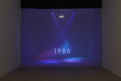 Michael Smith, <em>Timeline</em>, 2015. Disco ball, colored lights, fog machine, single channel video (looped), size variable. Courtesy the artist and Greene Naftali, New York. Photo: Elisabeth Bernstein.