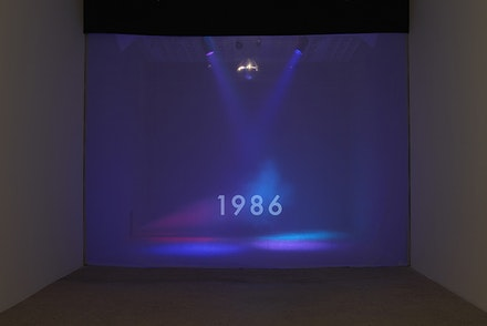 Michael Smith, <em>Timeline</em>, 2015. Disco ball, colored lights, fog machine, single channel video (looped), size variable. Courtesy the artist and Greene Naftali, New York. Photo: Elisabeth Bernstein.